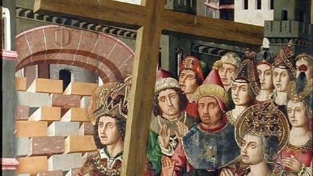 Heraclio devuelve la Vera Cruz a Jerusalén.