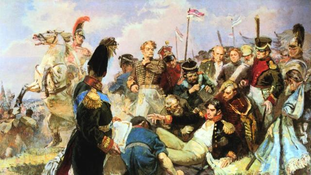 El cuadro representa la batalla de Borodino, del 7 de septiembre de 1812, que se convirtió en una enorme carnicería (Print Collector / Getty)
