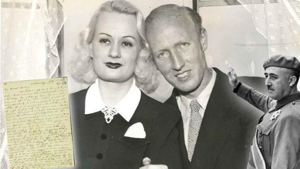 Imagen de Harold Dahl y Edith Rodgers, junto a una imagen de Franco (izquierda) y una de las cartas que el novio le envió a su pareja durante su cautiverio - ABC
