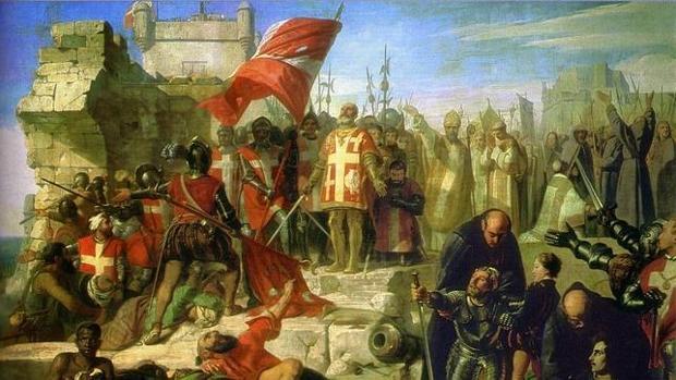 La Valette y sus caballeros dan gracias a Dios tras la retirada otomana, cuadro de Charles-Philippe Lariviére
