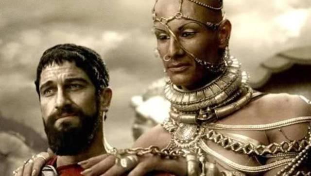 Leónidas y Jerjes I en una escena de la película «300»