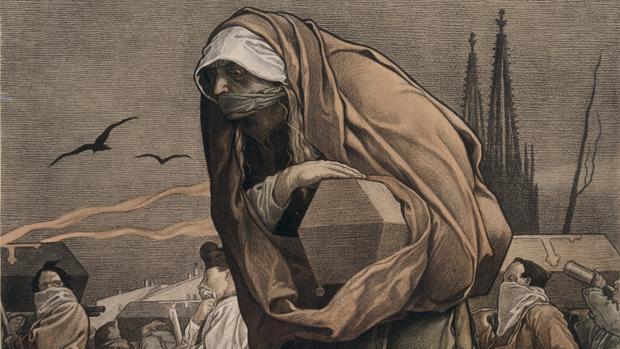 Ilustración sobre la epidemia de Eyam, en donde sobrevivieron solo 90 de los 350 vecinos