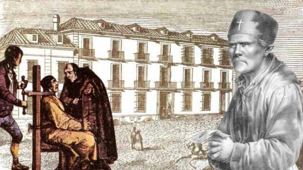Una ilustración de la ejecución de Luis Candelas, junto a otras de cura Merino, con la cárcel del Saladero al fondo