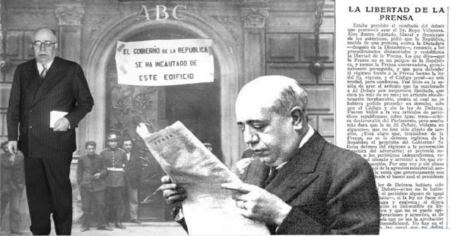 Montaje con imagénes de Manuel Azaña, sobre un editorial de ABC hablando de «La libertad de prensa» y la fotografía de la incautación del edifico de la redacción, en mayo de 1931 - ABC