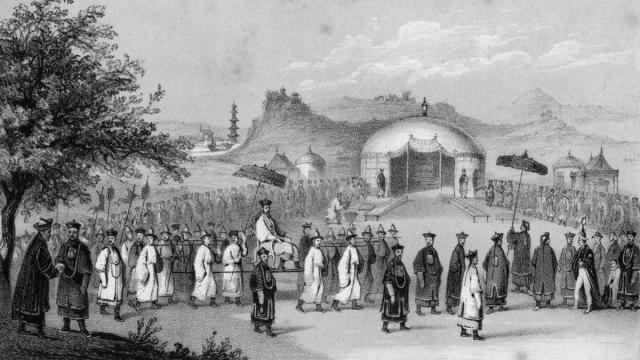 El emperador dhino llega al encuentro con el embajador británico, en un grabado del siglo XIX