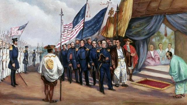 Llegada del comandante Matthew C.Perry a las costas de Japón en 1853