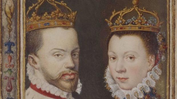 Los reyes españoles representados con corona.