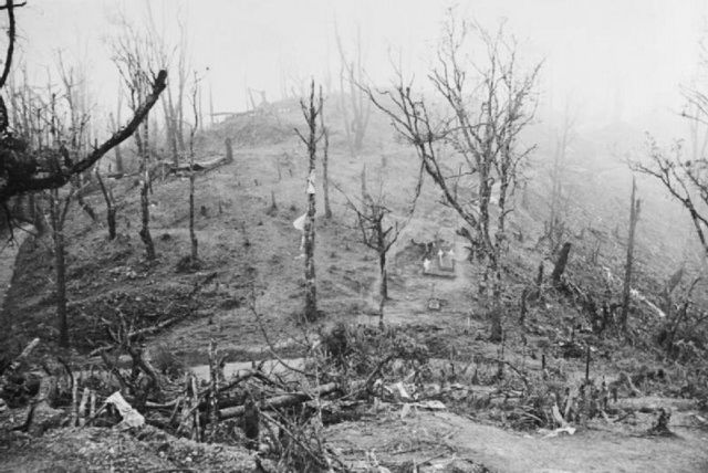 View of the Garrison Hill battlefield with the British and Japanese positions shown. Garrison Hill was the key to the British defences at Kohima.