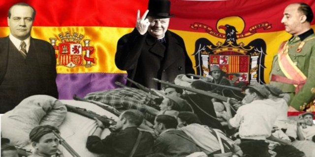 Imagen de la Guerra Civil, en una montaje sobre las banderas republicana y franquista, con Negris (izquierda), Churchill (centro) y Franco - ABC / Vídeo: Así fueron las negociaciones que podrían haber terminado con la Guerra Civil