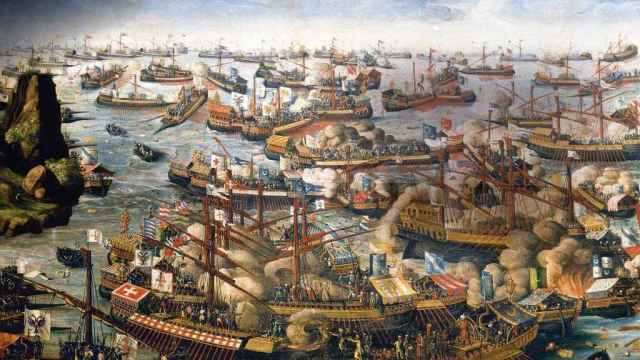Representación pictórica de la batalla de Lepanto. National Maritime Museum