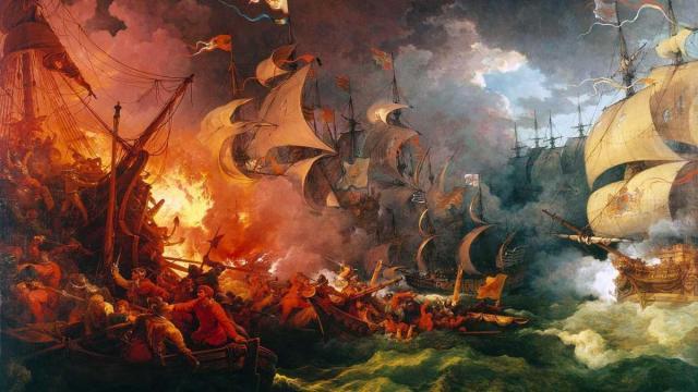 Las armadas española e inglesa enfrentadas en un cuadro de Philip James de Loutherbourg Dominio público