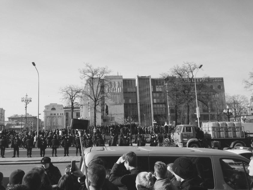 La policía tomando posiciones en Pushkinskaya