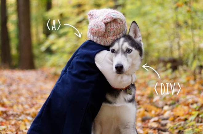 Kid hugging a dog. Kid represents tag and dog the tag