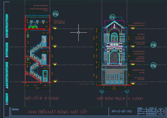 Hồ sơ bản vẽ nhà dân 3 tầng