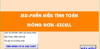 Bảng Excel tính toán móng đơn