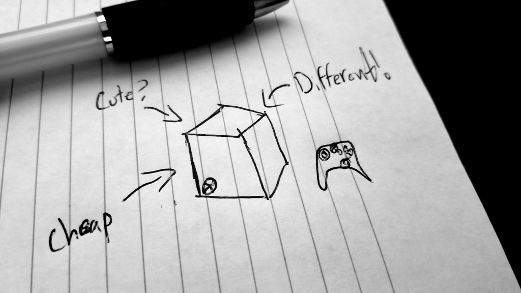 "a poorly-drawn box and controller with the Xbox logo plastered on both. The words, ""Cheap"", ""Cute?"", and ""Different!"" all point towards the box."