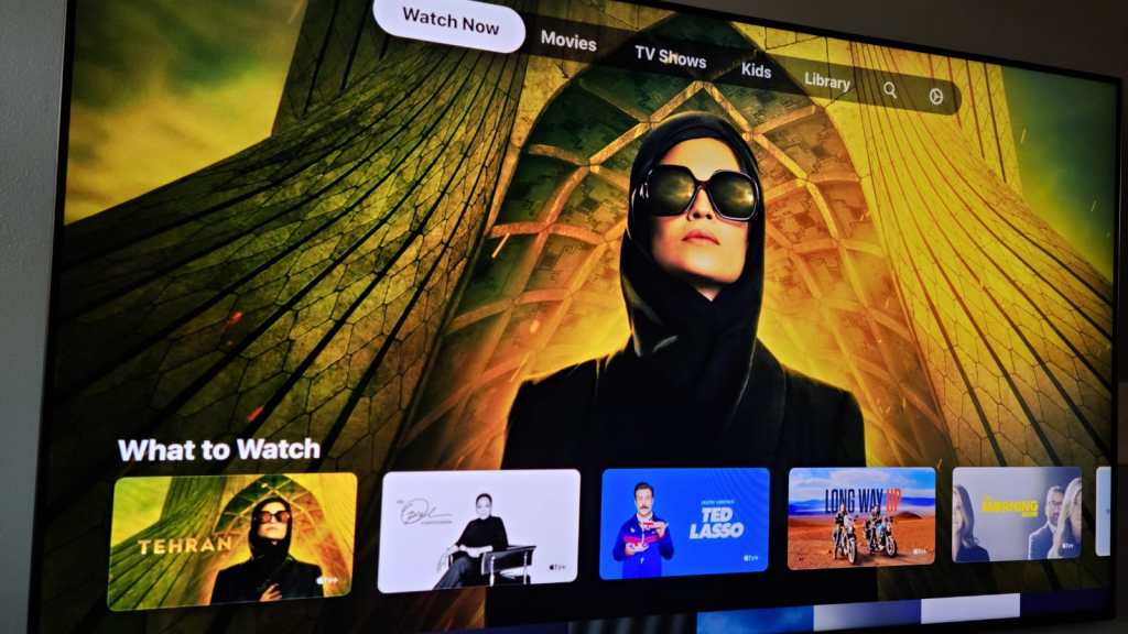 The Apple TV app on a Samsung television.