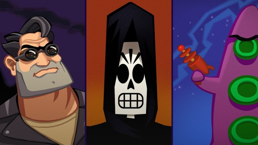 A hero image of three LucasArts titles: Full Throttle, Grim Fandango, and Day of the Tentacle.