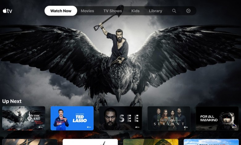 A preview of the front page of the Apple TV application.