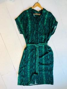 slangenprint jurk groen van Geisha