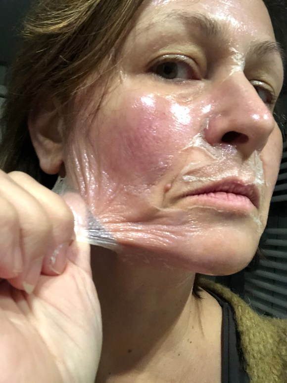 peeling off mask
