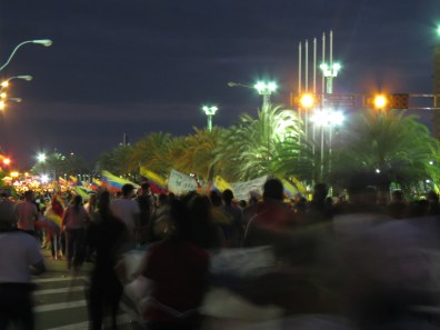 Marcha dirigiéndose a la Plaza Monumental CVG, Puerto Ordaz, 12-03-2014.