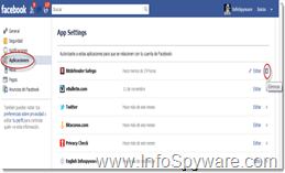 Elimine Aplicaciones sospechosas de Facebook.