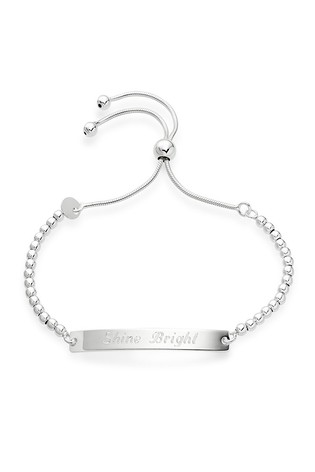 Buy Personalised Silver Bar Bracelet by Beaverbrooks from