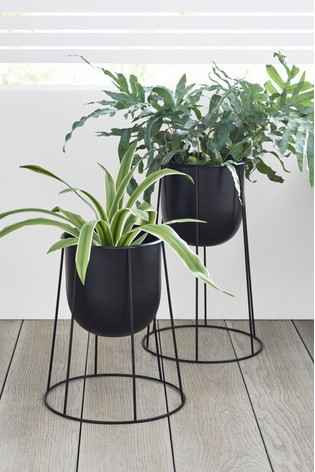 Buy Set Of 2 Black Plant Pots On Stand From The Next Uk Online Shop