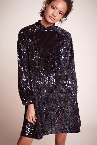 Black Velvet Sequin Dress