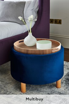 blue ottoman storage stools next