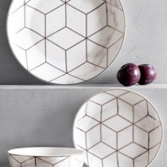 Gold Kitchen Flat Cabinets Accessories Next Uk 12 Piece Rose Marble Effect Dinner Set