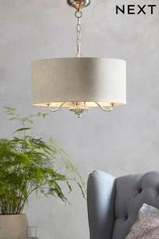 kitchen drum light modern sink ceiling lights led pendent hanging next burford 3 chandelier