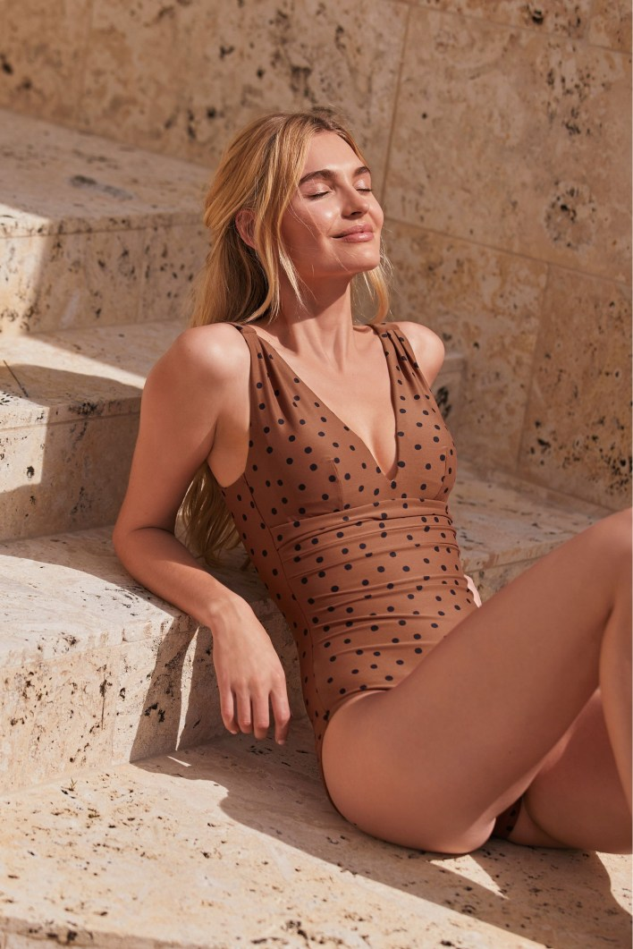 Plus-size Brown and white polkadot swimsuit from Next