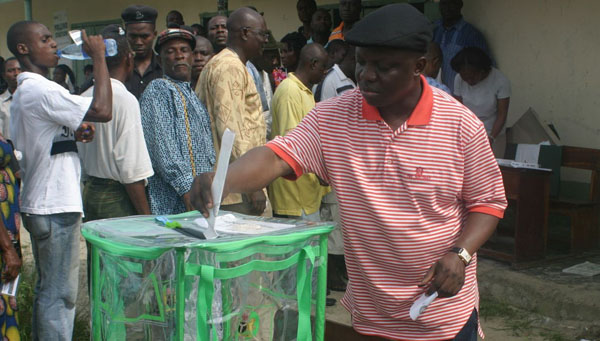 Governor Dr Emmanuel Uduaghan voting for Great Ogboru