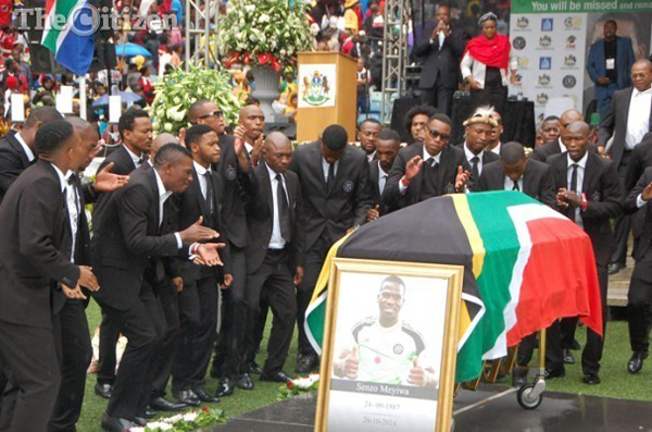 Orlando Pirates players singing and saying goodbye to their captain Senzo Meyiwa at his funeral held at Moses Mabhida stadium in Durban