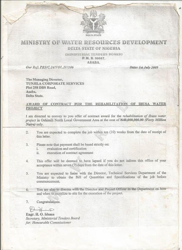 Contract Offer Letter to Princess Pat Ajudua aka Tunjila corporate Services