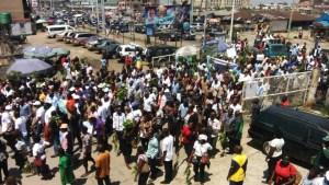 Sacked Delta line workers shut down commercial activities in Asaba