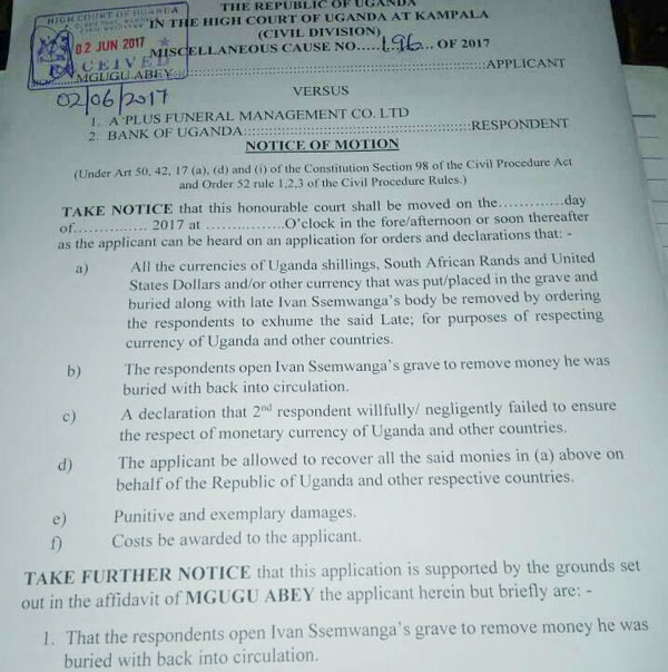 Notice of Motion: Abey Mgugu wants body of late Ivan Ssemwanga be exhumed and money buried with him removed