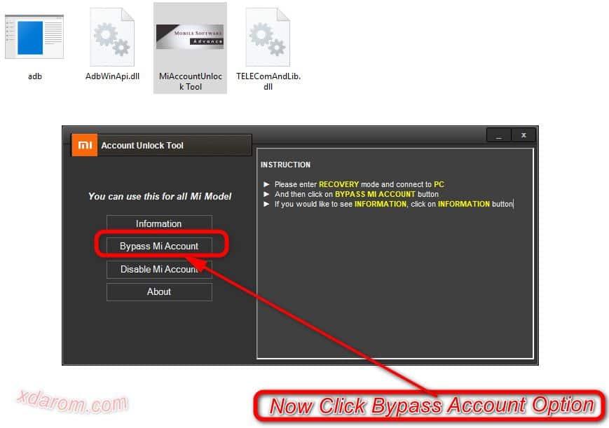 Click Mi Account Bypass Tool Bypass Option