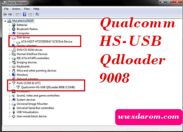 Qualcomm HS-USB Qdloader 9008