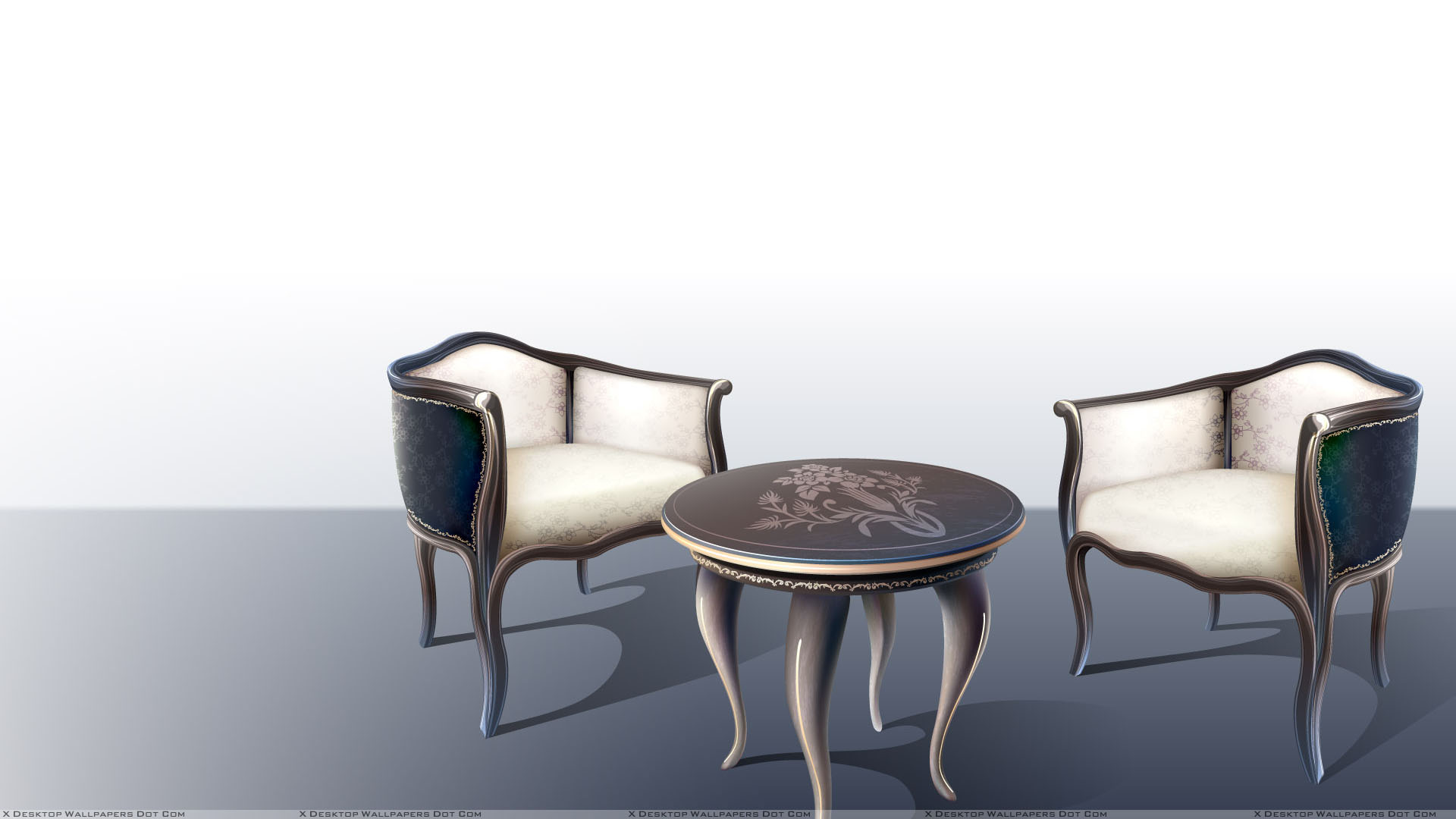 Table With Two Chairs Two Chairs And Table With White Background Wallpaper