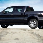 Side Pose Of 2009 Ford F 150 Platinum In Black Wallpaper