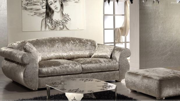 Silver Sofa Set And White Background In Guest Room Wallpaper