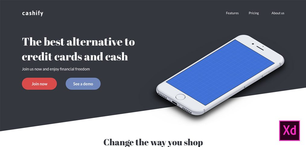 simple landing page xd