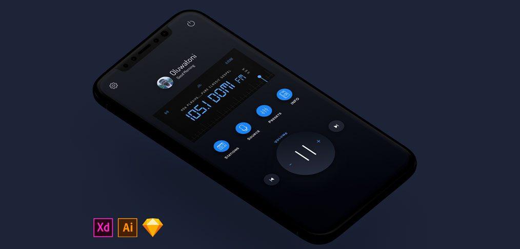 Mobile Radio UI concept Dark