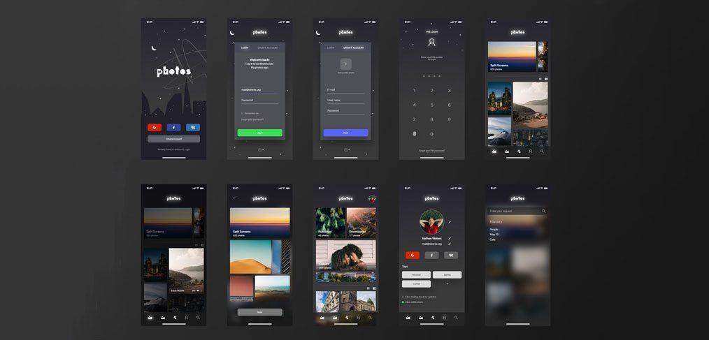MyPhotos Free XD app concept