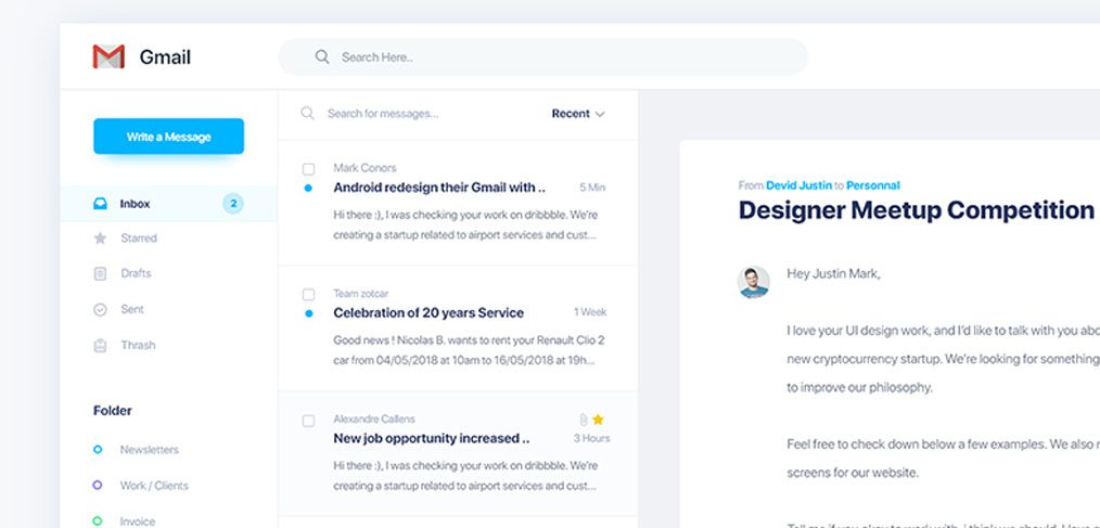 Gmail Redesign with Adobe XD