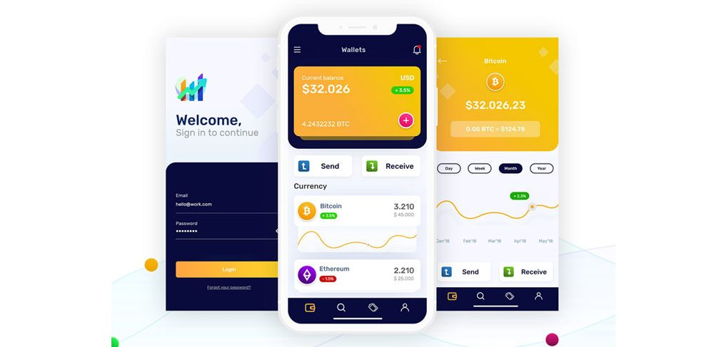 Crypto Wallets Mobile Concept