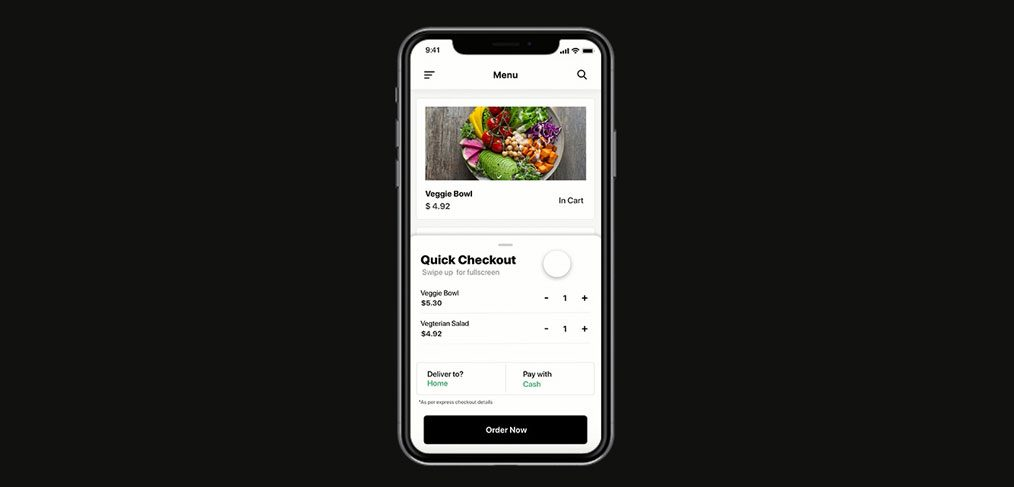 Quick checkout mobile animation